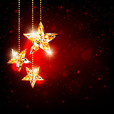 Christmas Polygon Star Background. Sparkling  Christmas Polygon Star on Red Background Stock Image
