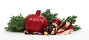 Christmas Pomegranate with Pine Stock Photos