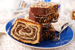 Christmas poppy cake with nuts Stock Photo