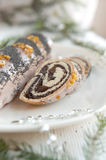 Christmas poppy seed cake Royalty Free Stock Image
