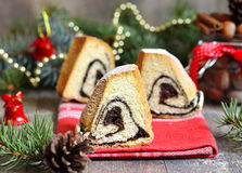 Christmas poppy seed roll. Royalty Free Stock Photo
