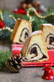 Christmas poppy seed roll. Royalty Free Stock Photography