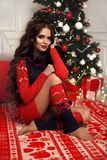 Christmas portrait of attractive woman with curly hairstyle. Beutiful brunette girl with long hair style wears in warm red knit stock photo