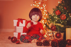 Christmas portrait of baby boy Royalty Free Stock Photos