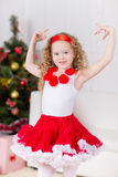 Christmas portrait of beautiful curly girl Stock Photo