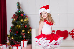 Christmas portrait of beautiful curly girl Royalty Free Stock Images