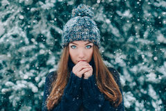 Christmas portrait of beautiful girl. In hat with snow stock photos