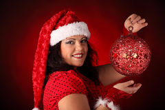 Christmas portrait of beautiful plus size young woman Stock Photo