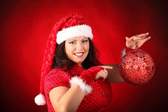 Christmas portrait of beautiful plus size young woman Royalty Free Stock Images