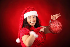 Christmas portrait of beautiful plus size young woman Stock Images