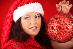 Christmas portrait of beautiful plus size young woman Royalty Free Stock Photos