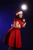 Christmas portrait of beautiful plus size young woman Royalty Free Stock Photography