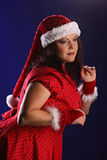 Christmas portrait of beautiful plus size young woman Stock Image