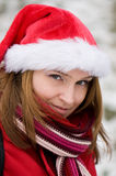 Christmas portrait of a beautiful woman Royalty Free Stock Photos