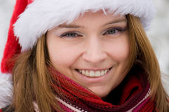 Christmas portrait of a beautiful woman Stock Photography