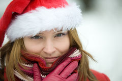 Christmas portrait of a beautiful woman Royalty Free Stock Photography