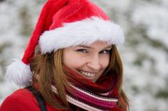 Christmas portrait of a beautiful woman Royalty Free Stock Image