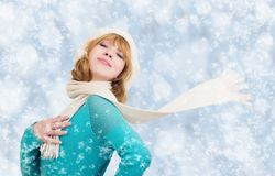 Christmas portrait of a beautiful young woman Stock Photos