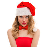Christmas portrait of a beautiful young woman Royalty Free Stock Images