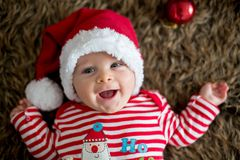 Christmas portrait of cute little newborn baby boy royalty free stock image