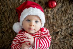 Christmas portrait of cute little newborn baby boy stock images