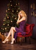 Christmas portrait of fashionable girl Royalty Free Stock Images