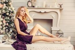 Christmas portrait of fashionable girl Stock Photo