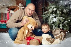 Christmas portrait father and son Stock Image