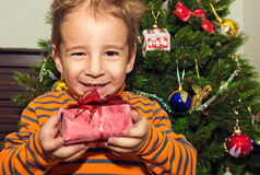 Christmas portrait of a happy child with a gift. Royalty Free Stock Photo