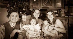 Christmas portrait of happy family Stock Photo