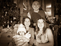 Christmas portrait of happy family of photographer Royalty Free Stock Photography