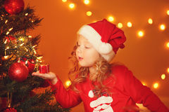 Christmas portrait of happy girl at home Stock Photography
