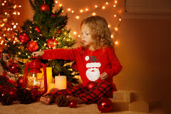 Christmas portrait of happy girl at home Royalty Free Stock Photos