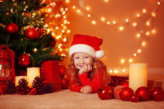 Christmas portrait of happy girl at home Royalty Free Stock Photo