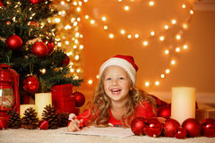 Christmas portrait of happy girl at home Stock Image