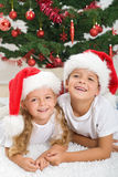 Christmas portrait of happy kids Royalty Free Stock Photos