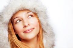 Christmas portrait of happy pensive woman. Christmas portrait of one happy pensive woman royalty free stock image