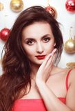 Christmas Portrait of Happy Woman on christmas background. royalty free stock photo