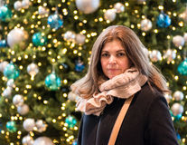 Christmas Portrait of Hispanic Woman Stock Photos