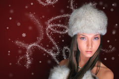 Christmas portrait of a woman Royalty Free Stock Photos