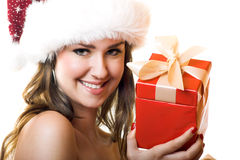 Christmas portrait of a woman Royalty Free Stock Image