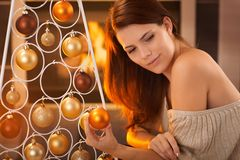 Christmas portrait of young beauty Royalty Free Stock Images
