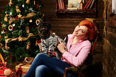 Christmas Portraite Of A Red Hair Girl And Her Dog Royalty Free Stock Photography
