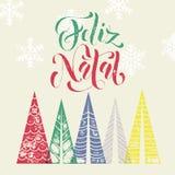 Christmas Portuguese Feliz Natal decorative background for greeting card. Christmas tree decoration background for Portuguese winter holidays. Feliz Natal Royalty Free Stock Image