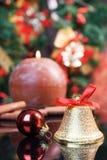 Christmas poscard. Christmas composition (focus on ball and bell Stock Photography