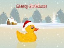 Christmas poscard. Cute illustration of chick at Christmas Stock Image