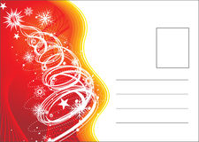 Christmas post card. On tree and stars with space of your text, vector illustration royalty free illustration