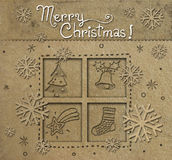 Christmas post card. Christmas seasons postcard with paper decorative elements Stock Photo