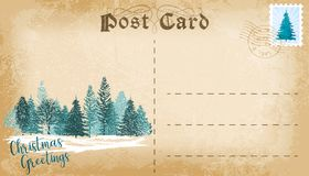 Christmas post card with conifer forest and copy space for text. Vector stock photos