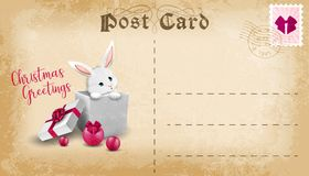 Christmas post card with cute cartoon bunny and copy space for text. Vector royalty free stock images